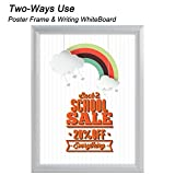 """T-Sign 24 x 36 inches Aluminum Snap Poster Frame Inclueds White Dry Earse Surface, 1"""" Profile Wall Mounted Silver - Two Use Methods, for More Display"""