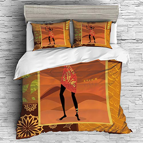3 Pieces (1 Duvet Cover 2 Pillow Shams)/All Seasons/Home Comforter Bedding Sets Duvet Cover Sets for Adult Kids/King/African Woman,Frame with Natural Autumn Elements Native Girl with Vase Exotic Zulu