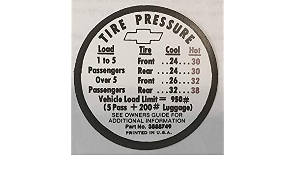 1966 CHEVROLET CHEVY II SS CHEVELLE SS DOOR TIRE PRESSURE DECAL NEW