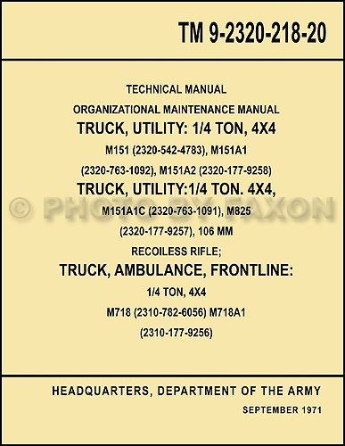 1960-1978 Military Jeep M151 Repair Shop Manual Reprint for sale  Delivered anywhere in USA