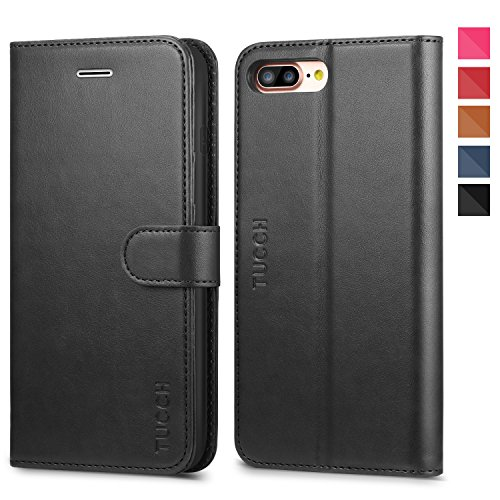 iPhone 8 Plus Wallet Case, iPhone 7 Plus Case, TUCCH Premium PU Leather Flip Folio Case with Card Slot, Cash Clip, Stand Holder and Magnetic Closure [TPU Shockproof Interior Protective Case], Black by TUCCH (Image #1)