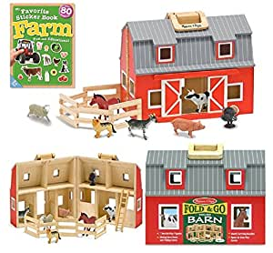 Amazon Com Melissa Amp Doug Fold Amp Go Wooden Barn With On