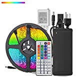 YIPBOWPT Led Strip Light Waterproof 32.8ft RGB SMD 5050 600leds Led Rope Light Color Changing Full Kit with 44 Keys IR Remote Control+24V Power Supply Led Lighting for Kitchen Indoor