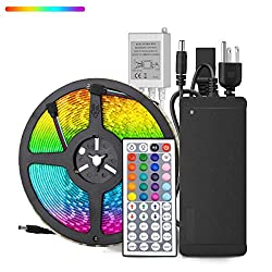 Yipbowpt Led Strip Light Waterproof 32 8ft Rgb Smd 5050 600leds Led Rope Light Color Changing Full Kit With 44 Keys Ir Remote Control 24v Power Supply Led Lighting For Kitchen Indoor