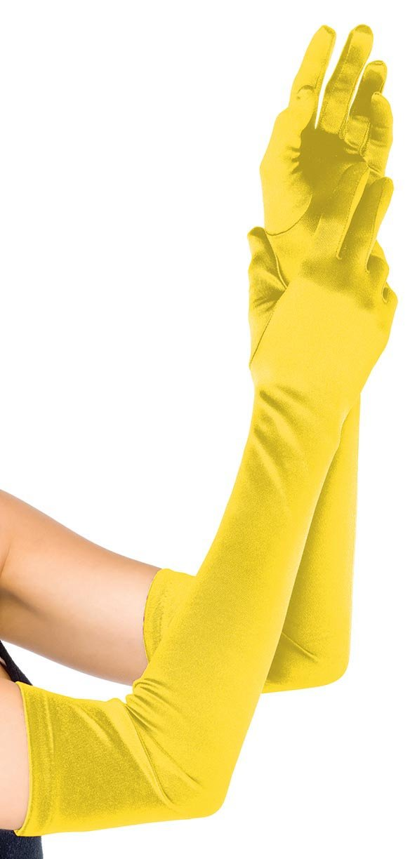 ToBeInStyle Women's Extra Long Opera Length Satin Gloves - Yellow - One Size