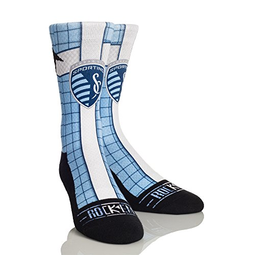 MLS Sporting Kansas City Jersey Series Custom Athletic Crew Socks, Small/Medium, Light Blue