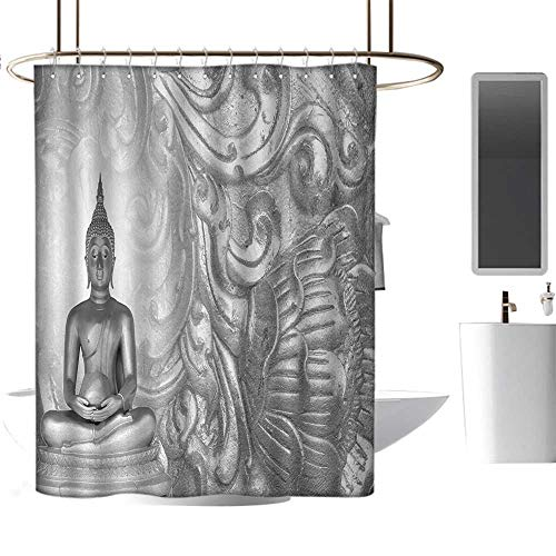 - Bathroom Shower curtain54 x78 Asian,Silver Ornamental Background Ancient Old Oriental Culture Monochromatic Image Art Print,Grey,Heavy Duty Rustproof Metal Grommets Bathroom Shower Curtain