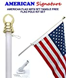Flag Pole Kit - Includes 2.5x4 Ft American Flag Made in USA, 5 Foot Tangle Free Flag Pole, and Flagpole Bracket Holder Kit Set (White)