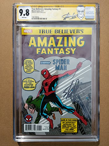 "TRUE BELIEVERS AMAZING FANTASY #1 High Grade! CGC 9.8 ""Spider-Man"" - Modern Age Collectible Comic Book - Signed by Stan Lee!"
