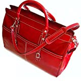 Floto Casiana Tote Tuscan Red Leather Luggage Weekender Travel Bag