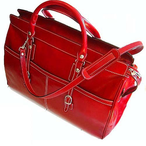 Floto Casiana Tote Tuscan Red Leather Luggage Weekender Travel Bag by Floto
