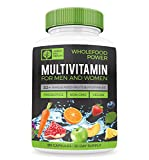 Wholefood Power Daily Multivitamins and Minerals for Women and Men: 90 Count – 30 plus Real Whole Food Fruits and Vegetables, Probiotics, Digestive Enzymes, B-Complex. Vegan and Made in the USA