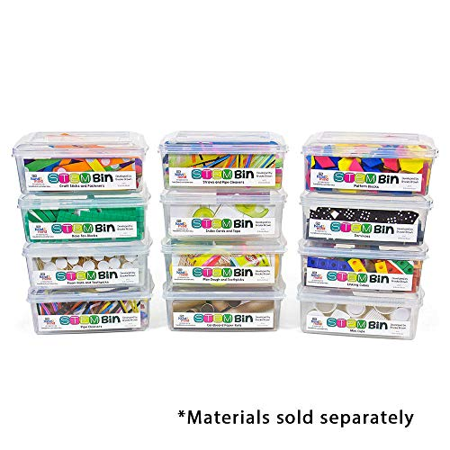 hand2mind STEM Bins by Brooke Brown, 12 Ready-to-Fill Plastic Bins with Manipulative Labels (Bins Only)