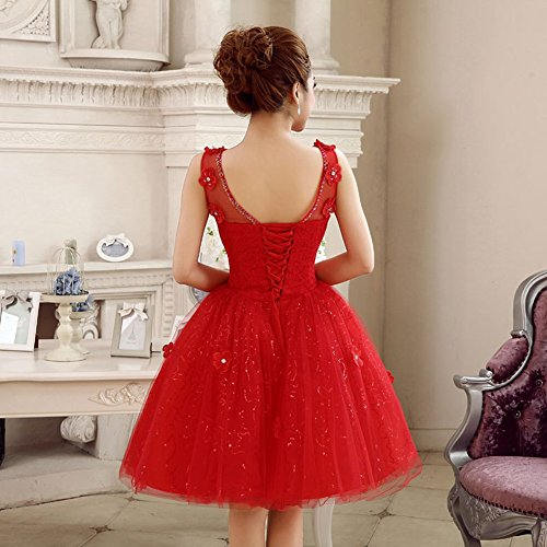 Dress Sequins Party Prom Women's Pearls Bridesmaid Lace Formal Drasawee Red Line Short A SxP1qTnAtn