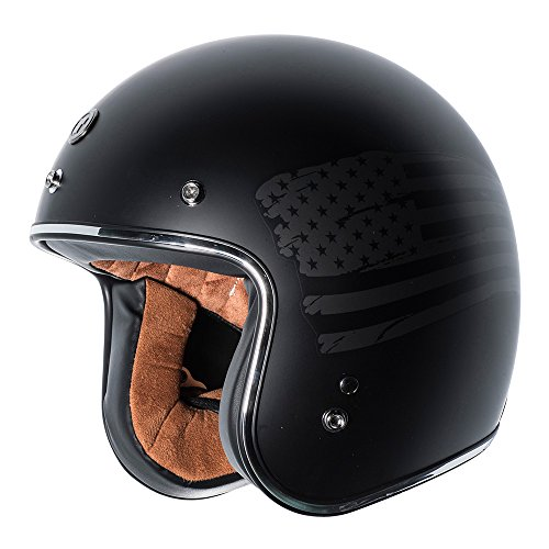 TORC T50 Route 66 3/4 Helmet with 'Black Flag' Graphic (Flat Black, X-Large) (Flag Motorcycle Helmet)