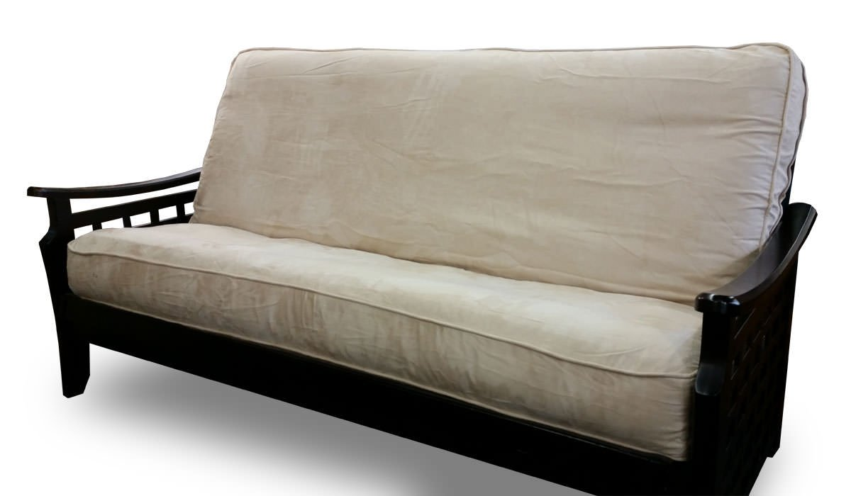 Futon Cover - Import Collection Sandalwood Microsuede - Handmade in USA - Full w/Piping (54'' x 75'')