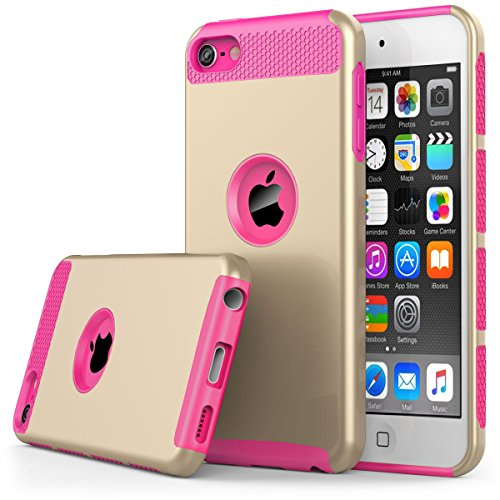 (iPod Touch 6th Generation Case,iPod Touch 5 Case,Jwest Dual Layers Hybrid Soft Silicone Hard Plastic Triple Quakeproof Drop Resistance Protective Case Cover (Gold&Hot Pink))