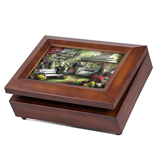 Flower Garden Music Box - Cottage Garden Special People Wood Finish Jewelry Music Box - Plays Tune Waltz of the Flowers
