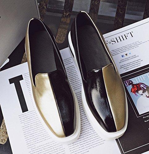 Sfnld Donna Trendy Tacco Zeppa Piattaforma Con Zeppa Slip On Mocassini Scarpe Oro