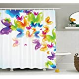 Ambesonne Butterflies Decorations Collection, Group of Butterflies Band in Radiant Rainbow Colors Hope Summer Garden Art Print, Polyester Fabric Bathroom Shower Curtain, 75 Inches Long, Multi