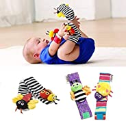 Eubell 4pcs/Pack Cute Animal Soft Baby Socks Toys Wrist Rattles and Foot Finders for Fun Butterflies and Lady Bugs Set