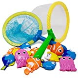 Boley 14 Piece Sinking Dive and Grab Net Fishing Bath Toy Set for Kids - Sinking Fish and Net Toy for Bath Time