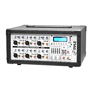 Pyle PMX602M 6-Channel 600 Watt Powered PA Mixer/Amplifier with AUX Input, USB/SD Card Readers & LCD Display