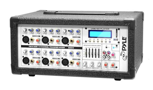 Pyle PMX602M 6-Channel 600 Watt Powered PA Mixer/Amplifier with AUX Input, USB/SD Card Readers & LCD Display by Pyle