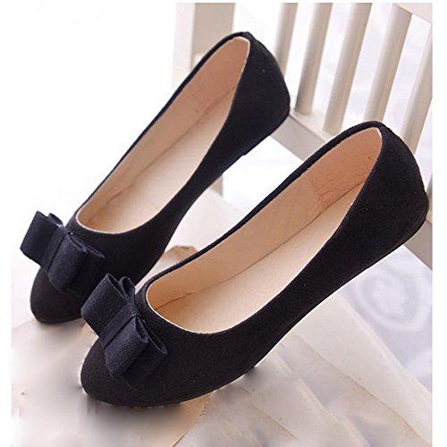 SKY Zapatos comodos !!! Zapatos de ballet de las mujeres Zapatos del trabajo Zapatos del resbalón de la pajarilla Barco Negro