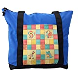 Lunarable Kids Shoulder Bag, Africa Animals Patchwork Style, Durable with Zipper