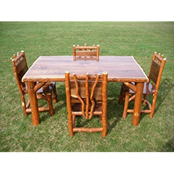 Rustic Sassafras Table and Chairs Set, Walnut Table Top - 5 Foot