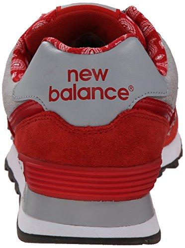 New Balance Mens Ml574 Paisley Collection Classic Scarpa Da Corsa Rossa / Grigia