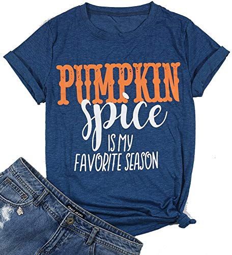 (Women Pumpkin Spice is My Favorite Season Letter Print T-Shirt Funny Fall Holiday Tee Tops Size S)