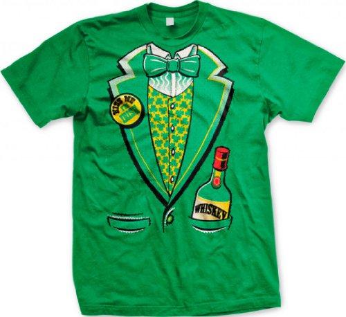 St. Patty's Day Irish Tuxedo Men's T-shirt, Hilarious St. Patrick's Day Shamrock Tux Vest and Bowtie Design Men's Tee (Kelly Green, 2X-Large)