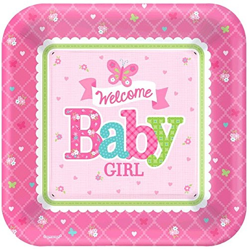 Amscan Appealing Welcome Little One Girl Square Plates Baby Shower Party Supplies, 10