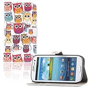 Multiple Cartton Owl Pattern Card Wallet Leather with Stand Full Body Case Cover for Samsung Galaxy S3 I9300