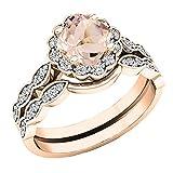 14K Rose Gold 5.5 MM Cushion Morganite & Round Diamond Ladies Halo Engagement Ring Set (Size 8)