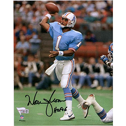 - Warren Moon Houston Oilers FAN Autographed Signed 8x10 Blue Throwing Photograph With HOF 06 Inscription - Certified Signature