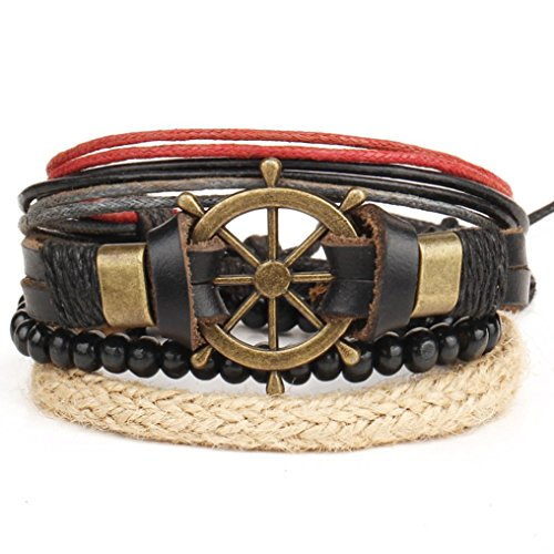 Creazy New Men's Braided Leather Stainless Steel Cuff Bangle Bracelet Wristband Fashion