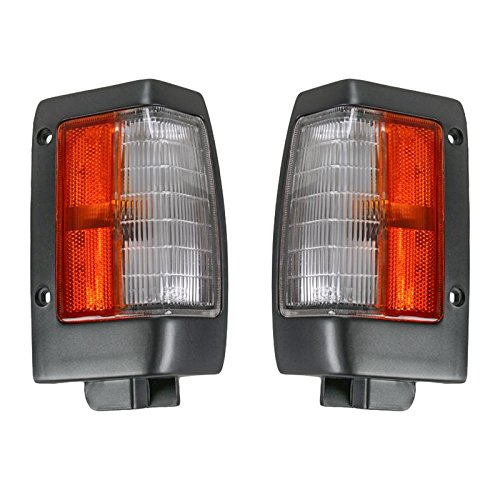 Black Parking Corner Side Marker Signal Light Lamp Pair Set for 90-97 D21 Pickup