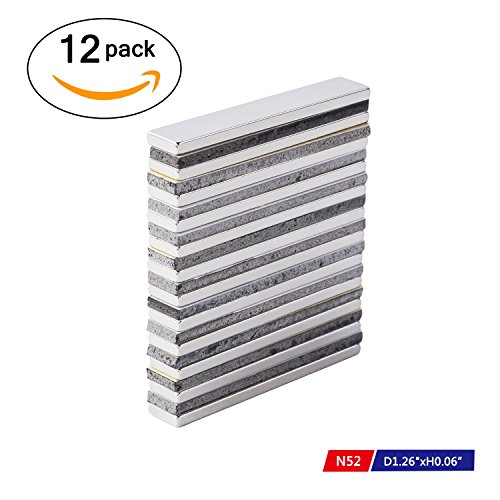 Powerful Neodymium Bar Magnets, N52 Rare-Earth Metal Neodymium Magnet for DIY, Craft - 60 x 10 x 3 mm, Pack of 12