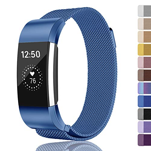 Fundro Compatible for Fitbit Charge 2 Bands, Milanese Loop Stainless Steel Metal Replacement Accessories Bracelet Strap with Unique Magnetic Lock Fitbit Charge 2 Women Men