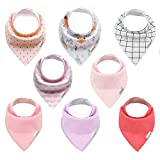 ALVABABY Baby Bandana Bibs for Girls 8pcs Pack Super Absorbent Baby Gift Settings 8SD19-CA