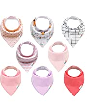 ALVABABY Baby Bandana Bibs Drooling Feeding for Girls Adjustable Reusable Washable 8 Pack Super Absorbent Baby Gift Settings 8SD19