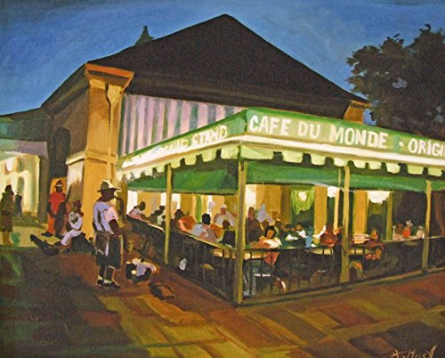 Cafe Du Monde Band New Orleans Baltas Matted Art Print French Quarter