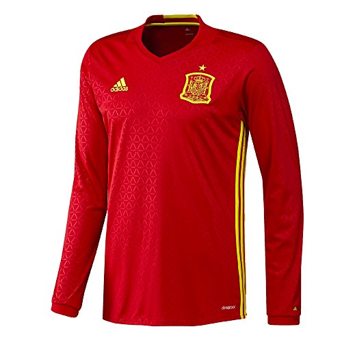 Adidas Spain Home Long Sleeve Jersey [SCARLE/BYELLO] (Adidas Spain Soccer Jersey)