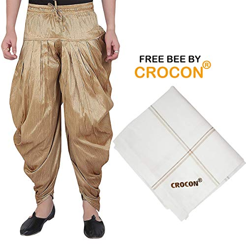 Kurta Dhoti (Crocon Men's Silk Blend Traditional Baggy Pant Pleated Harem for Traditional Kurta Wedding Partty Dress Men's Patiyala Salwar Pant and 1 Free Cotton Handkerchief (Gold, Free Size (Fit Upto 32 Waist)))