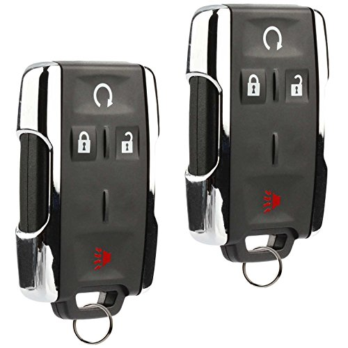 Key Fob Keyless Entry Remote Start fits Chevy Silverado Colorado / GMC Sierra Canyon 2014 2015 2016 2017 (M3N-32337100 Chrome), Set of 2 ()