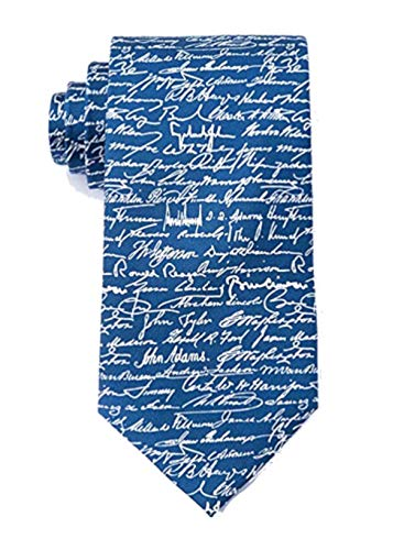(Men's 100% Silk Blue Patriotic U.S. Presidential Signatures Tie Necktie)