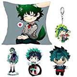 Apehuyuan Anime My Hero Academia Gift Set - 1 Keychain, 1 Pillow Case Cover, 1 Plush Figure Doll Toy, 1 Phone Ring Holder, 1 Acrylic Display Standing Figure